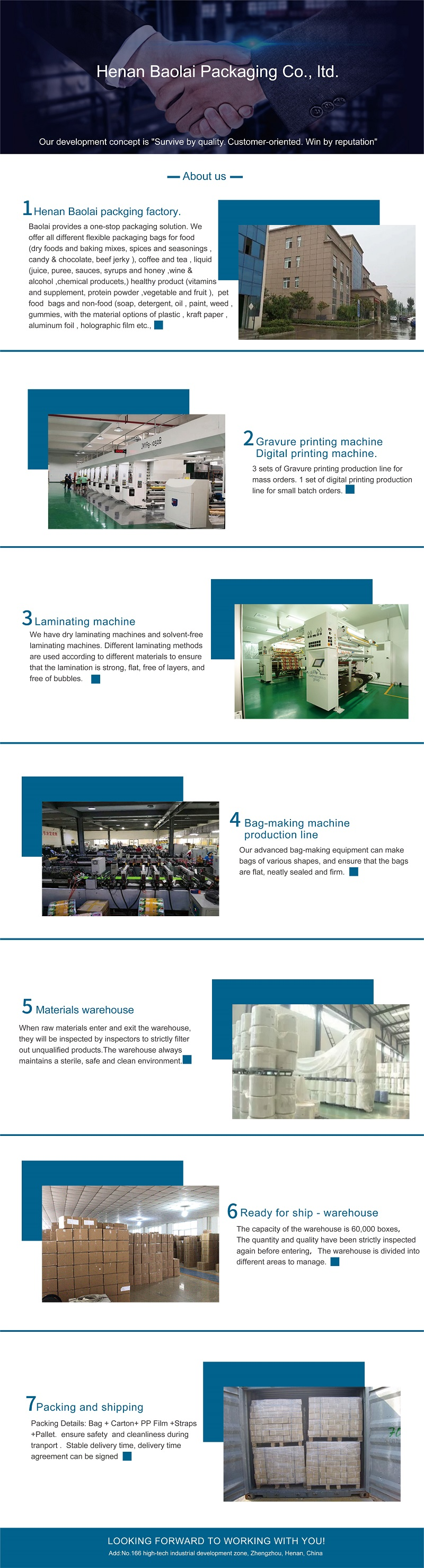 Stand up pouch packaging factory