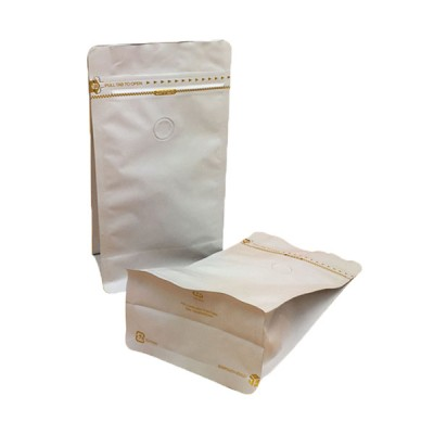 flat bottom pouch with zipper for coffee