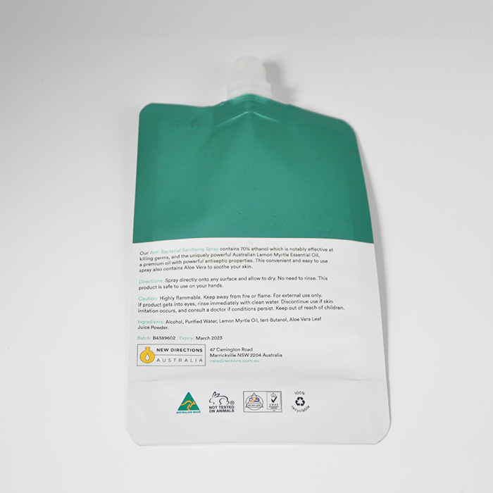 Customized reusable gel hand sanitizer alcohol 50ml spout pouches with flip top custom logo clear doypack4