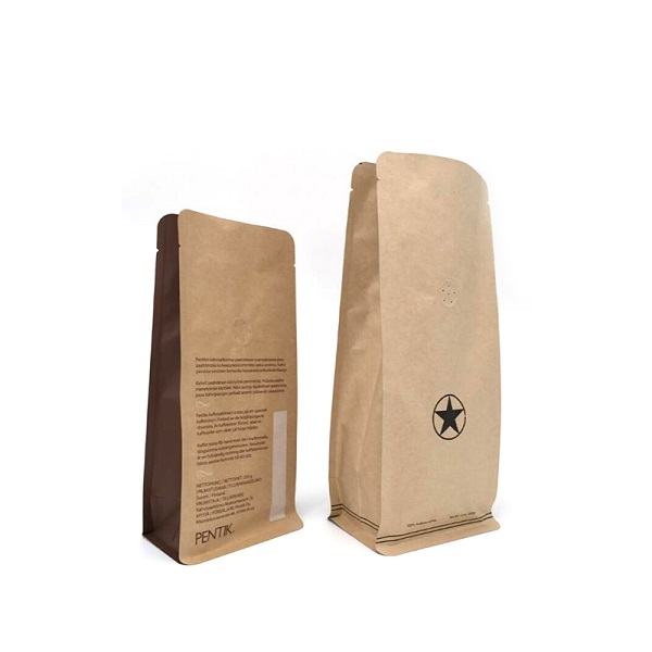 compostable bag brown paper coffee bag with valve degradable bag